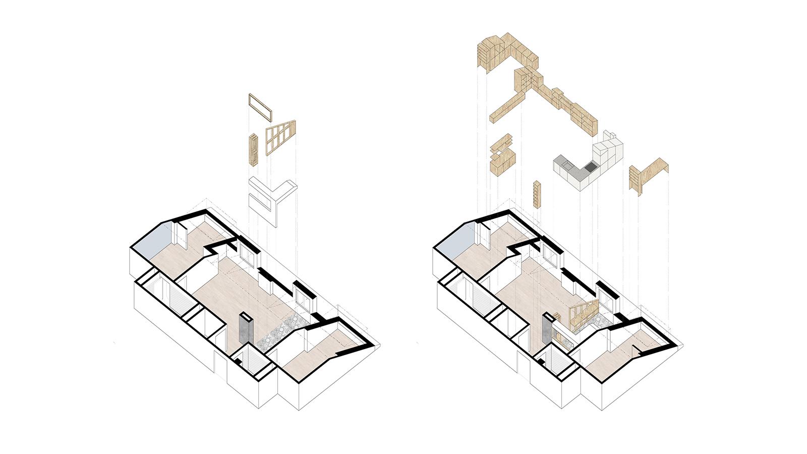 Reforma vivienda EA. Axonometría proceso
